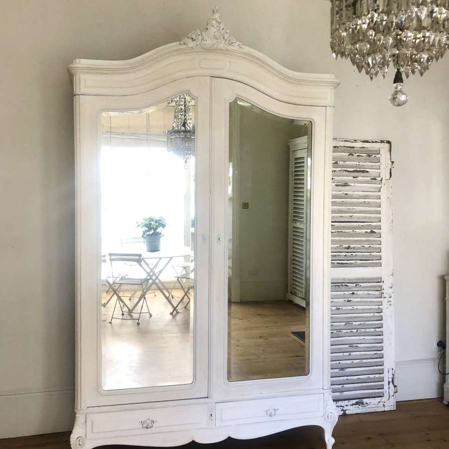 Antique French Louis XV painted armoire linen press wardrobe