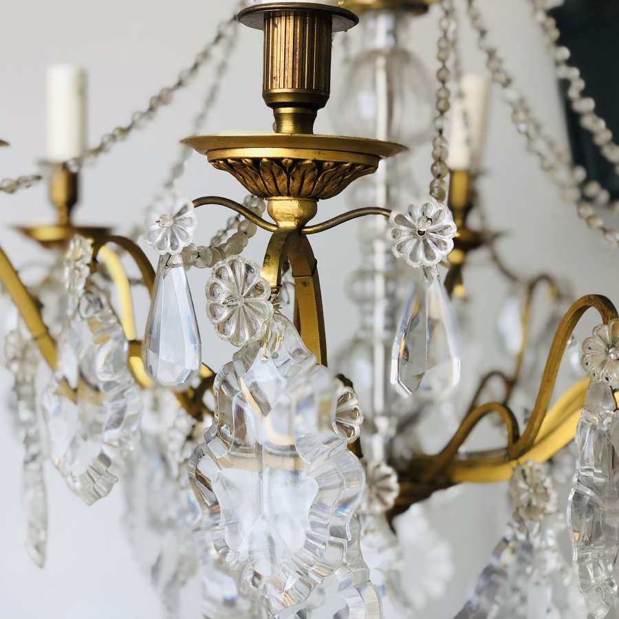 Antique French 6 branch crystal chandelier
