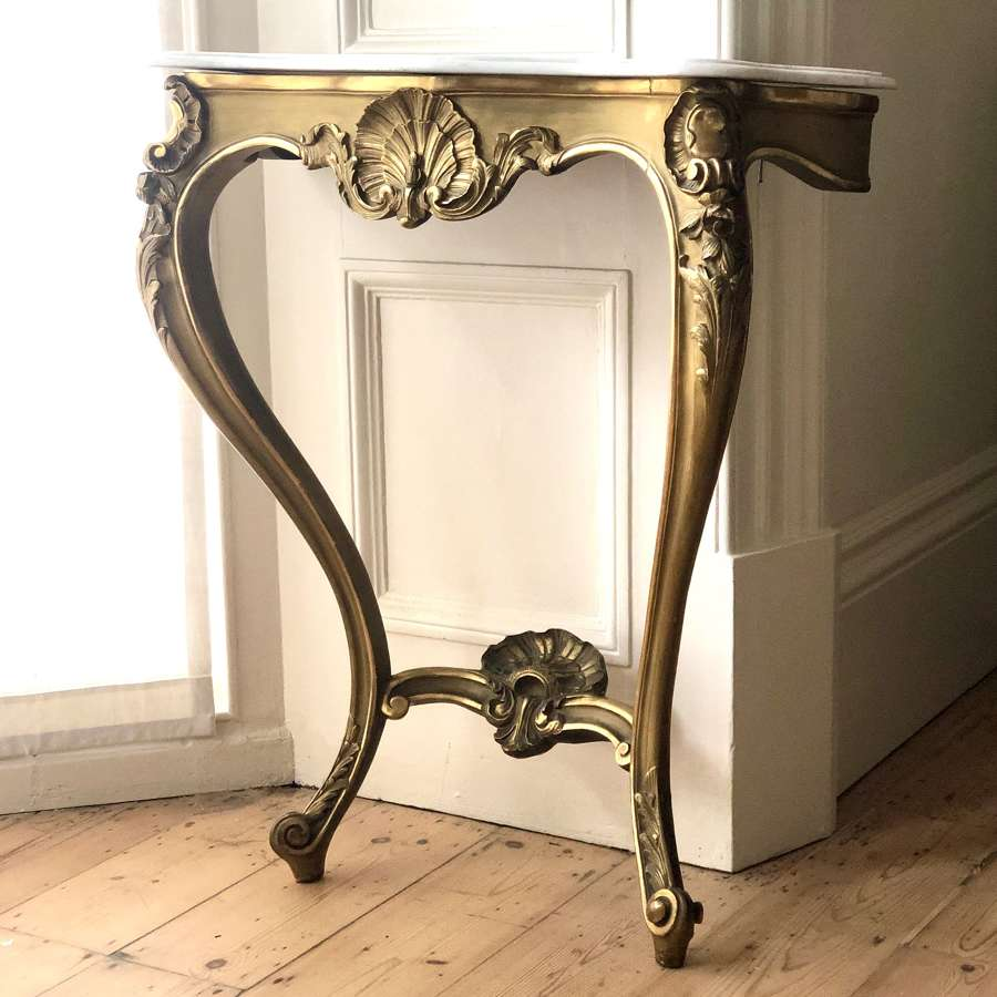 19th century antique French gilt and marble console table