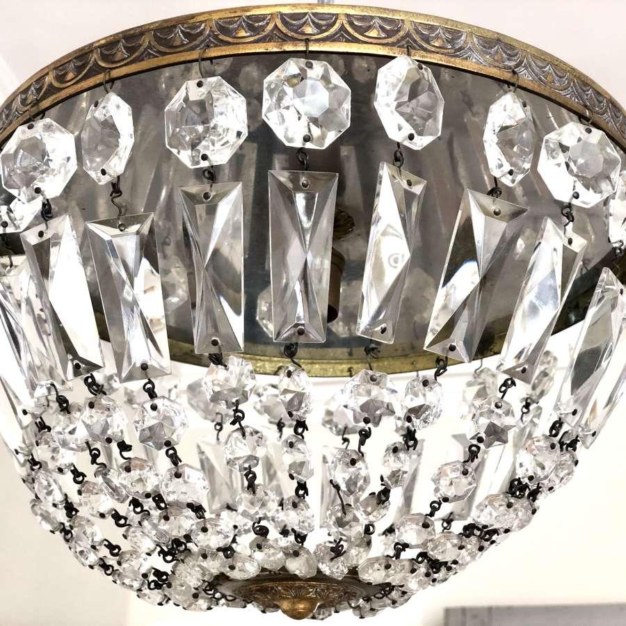 Antique French crystal bag chandelier