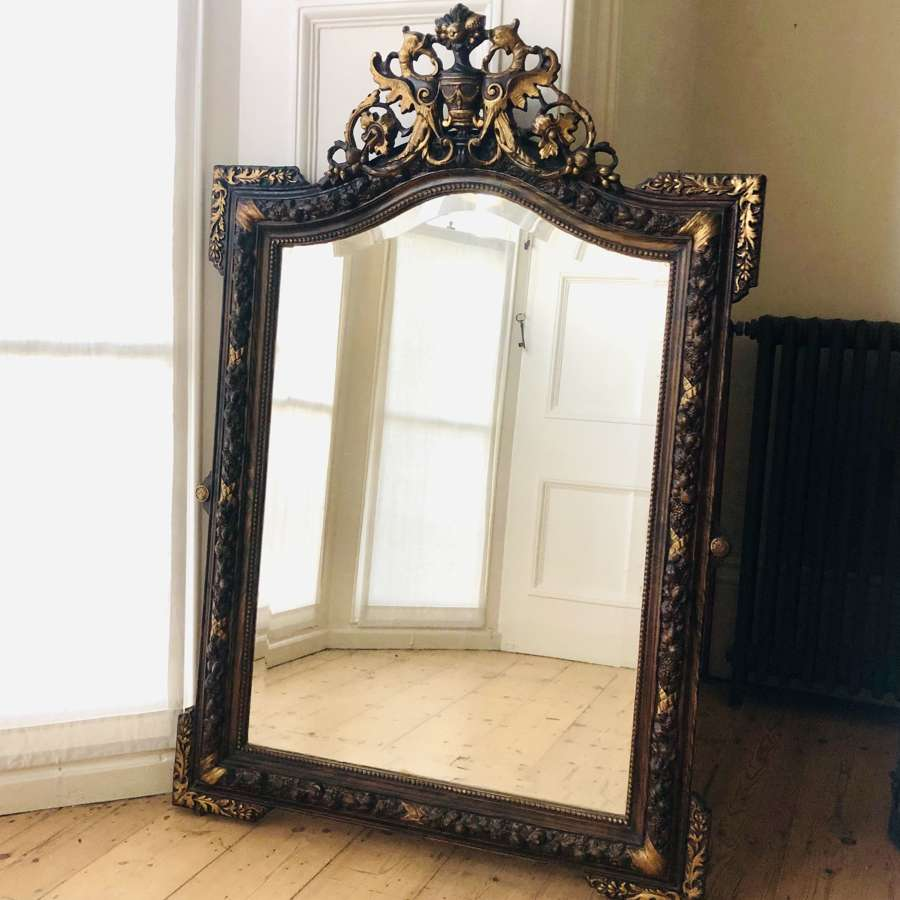 Antique French crested mirror - bevelled glass