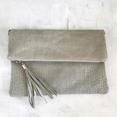 Grey tassel clutch bag