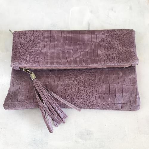 Pink tassel clutch bag
