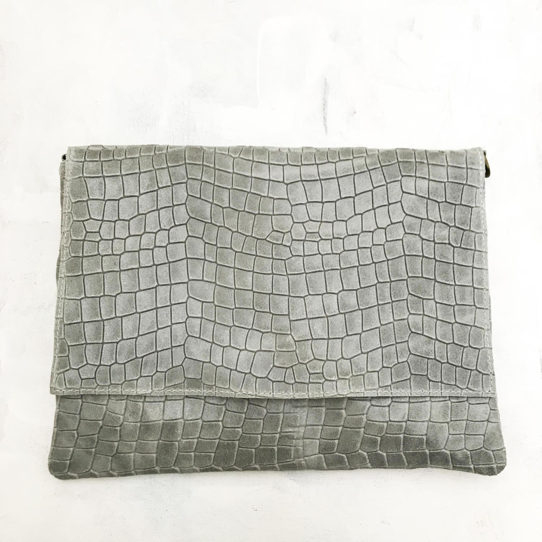Leather clutch grey