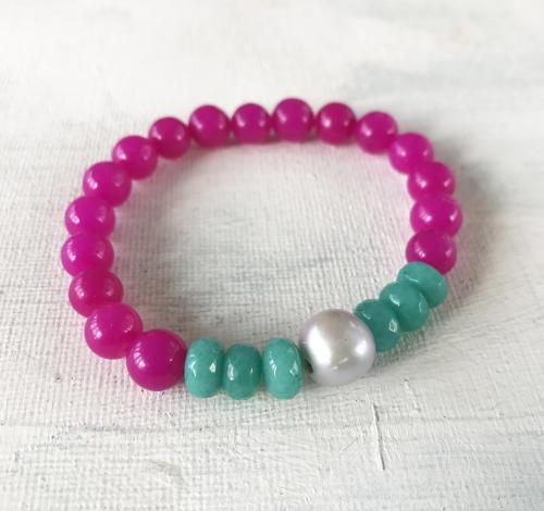 Annie bracelet teal/pink