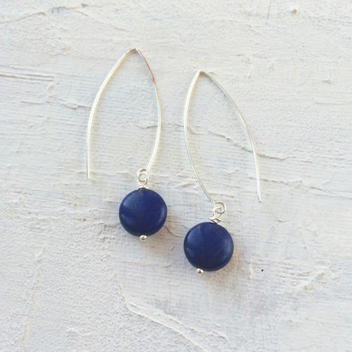 Long drop earrings navy