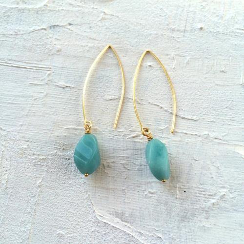 Long drop earrings duck egg