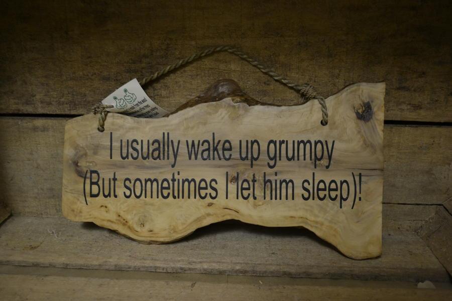 'Wake up grumpy' Coffee Wood Plaque