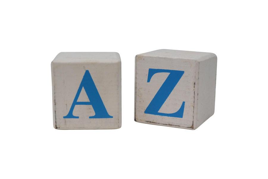 White Block Blue Letter