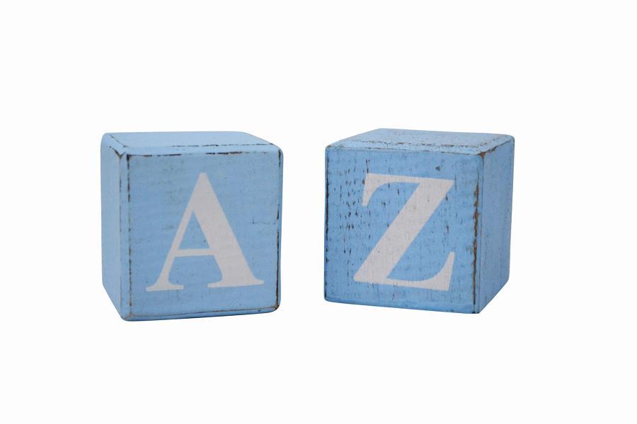 Blue Block White Letter