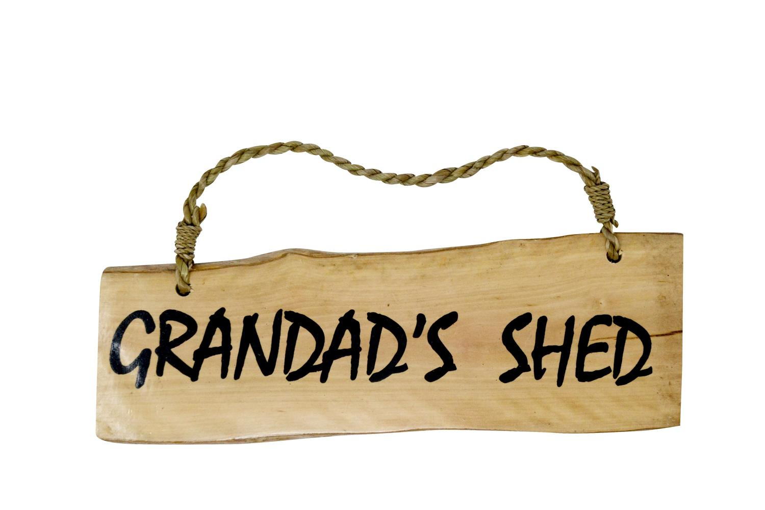 'Grandad's Shed' Coffee Wood Plaque