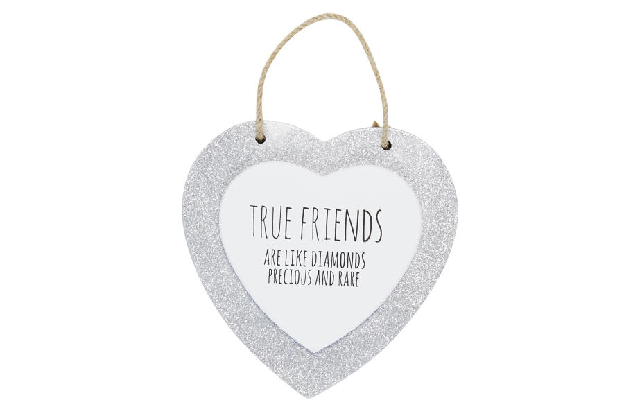 Silver Glitter Heart Plaques