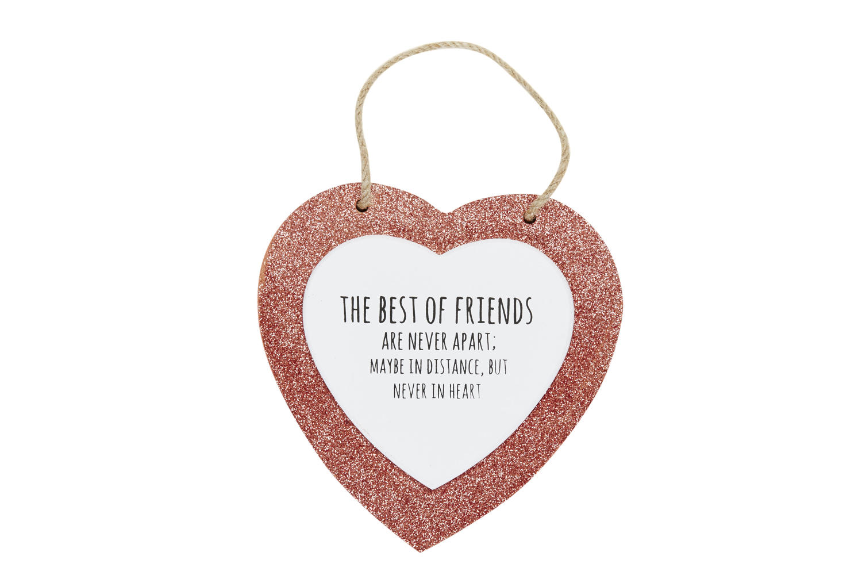 Rose Gold Glitter Heart Plaques