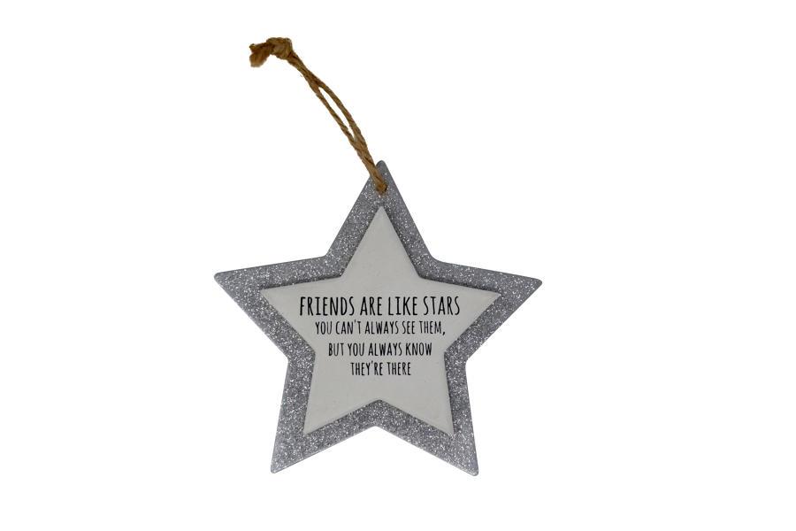 Silver Glitter Star Plaques