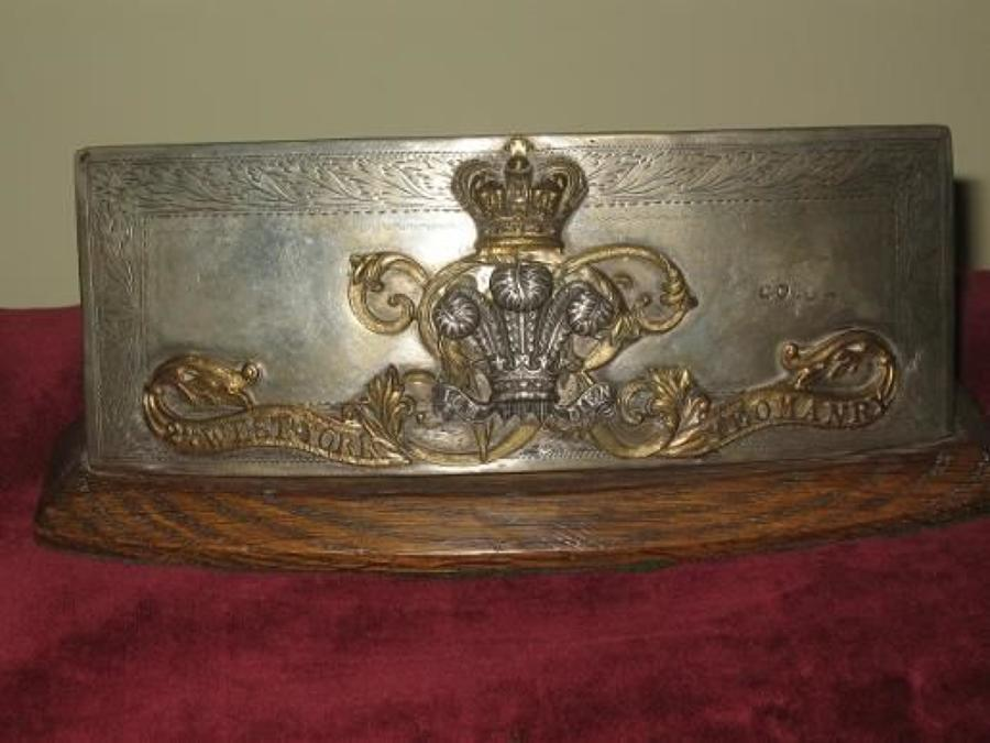 2nd WEST YORK YEOMANRY, SILVER OFFICERS SHOULDER BELT POUCH, DESK TROPHY
