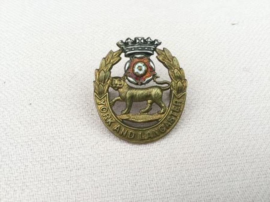 York and Lancaster Regiment Officers Cap Insignia