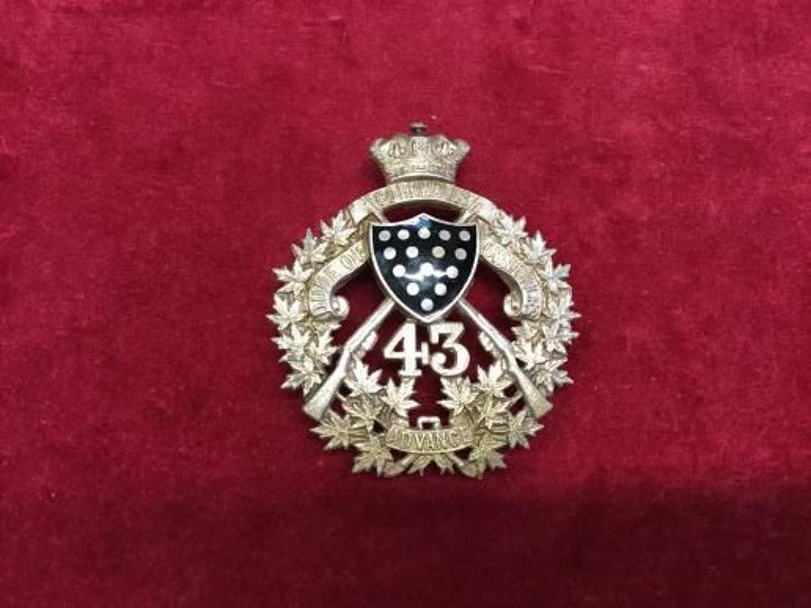 43rd 'Duke of Cornwalls Own' Rifles Canadian Militia  1903-20 Shoulder