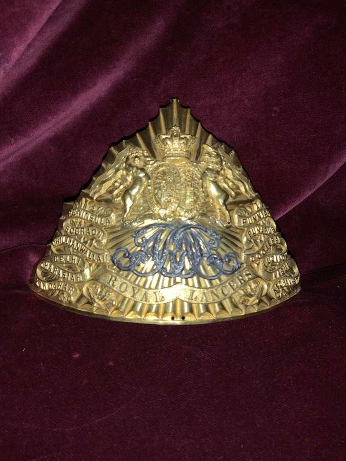9th Royal Lancer's Officer's Lance Cap Plate.