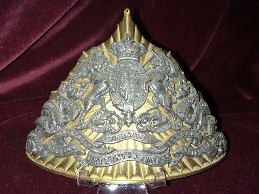 16th Lancers Officers QVC Lance Cap Plate.