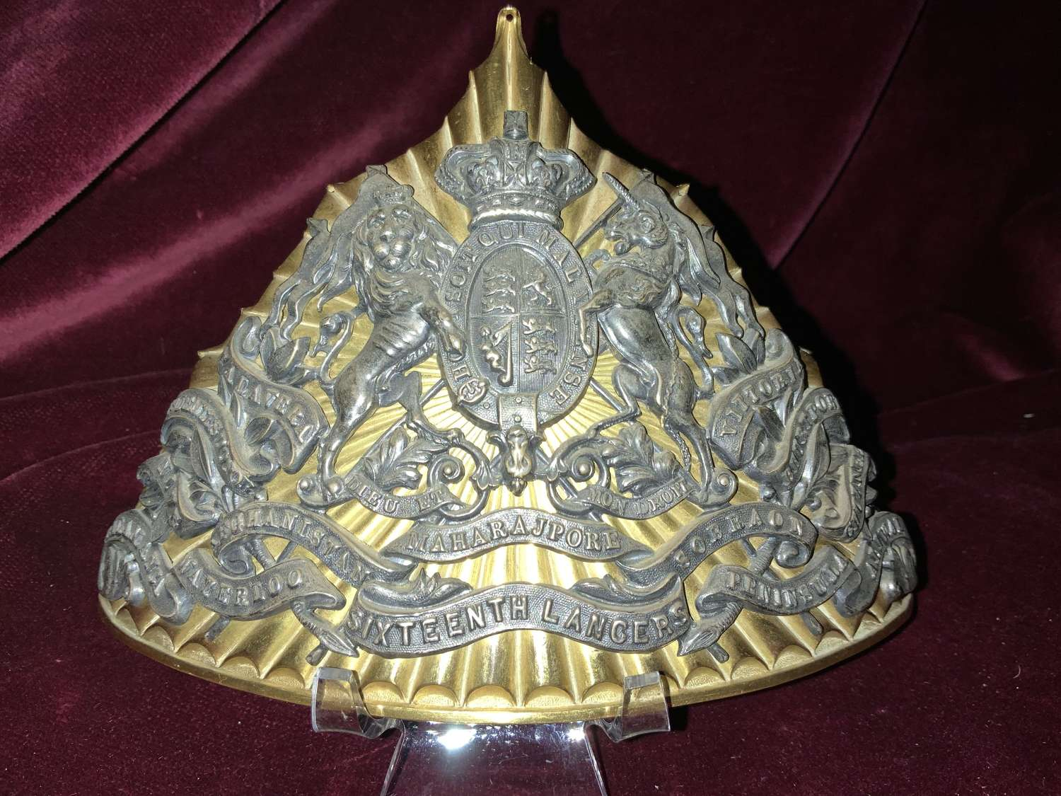 16th Lancers Officers QVC Lance Cap Plate.