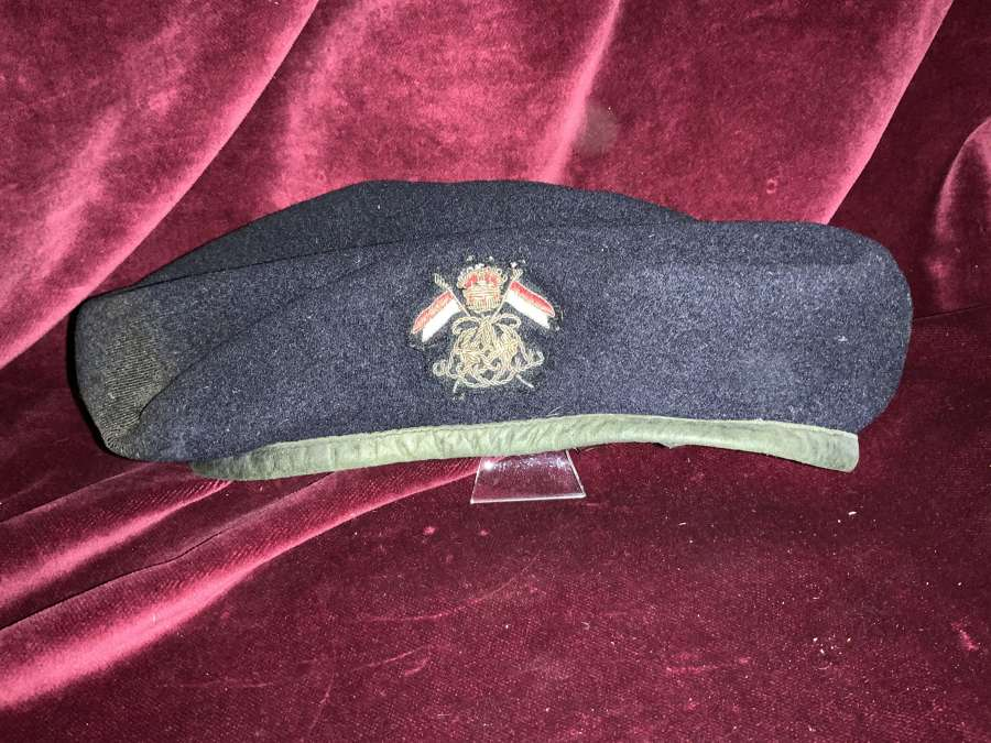 9th Lancers Officers Kings Crown, Black Beret with Bullion Badge.