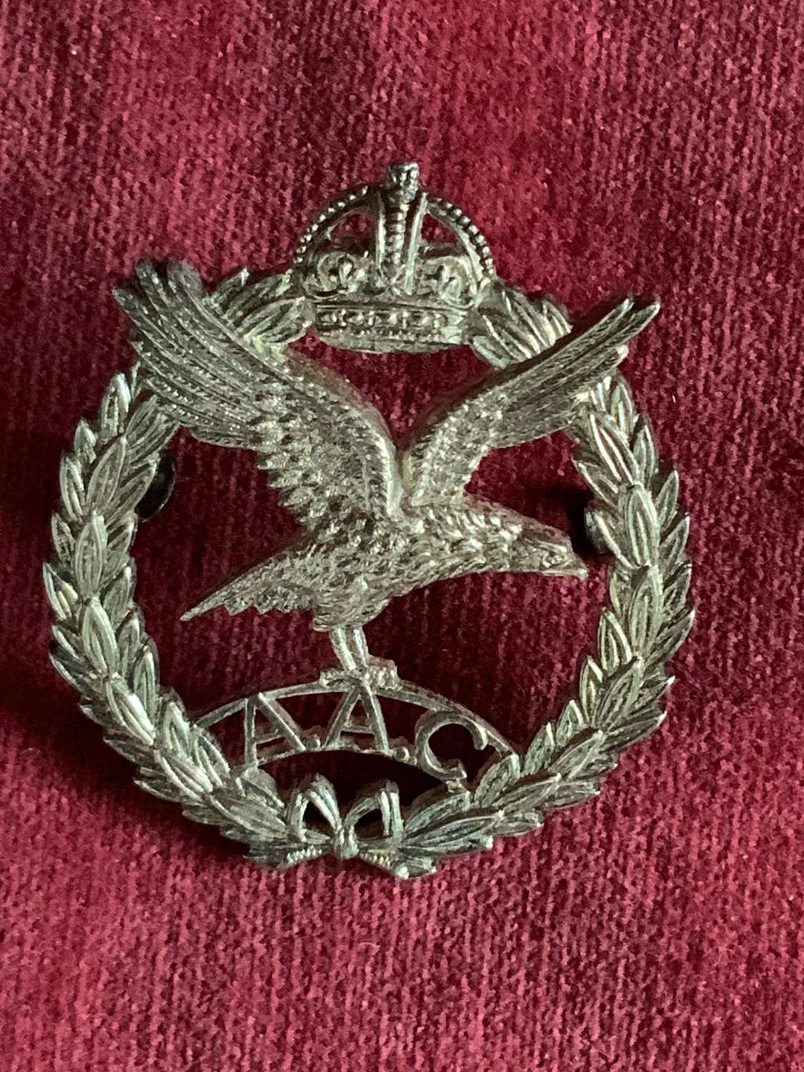 Army Air Corps, Officers Hallmarked Silver Cap/Beret Badge