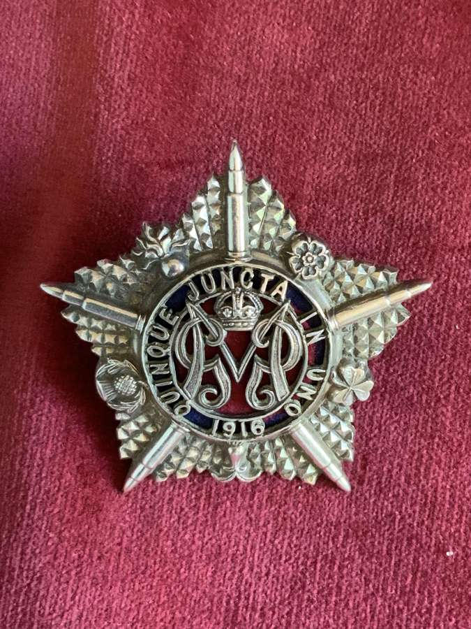 Machine Gun Regiment, Officers Hallmarked Silver Cap Badge