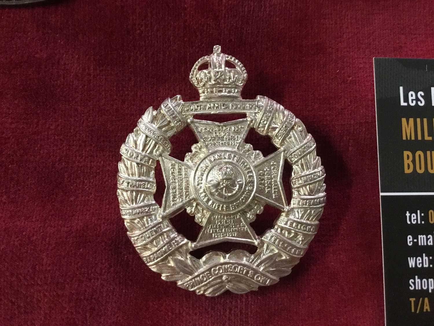 Tower Hamlets Rifles (Rifle Brigade) Officers Cap Badge