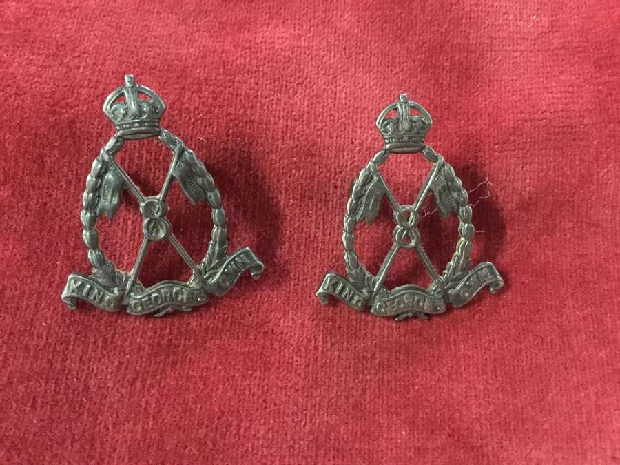 8th King George's Own Light Cavalry Officers Collar Badges