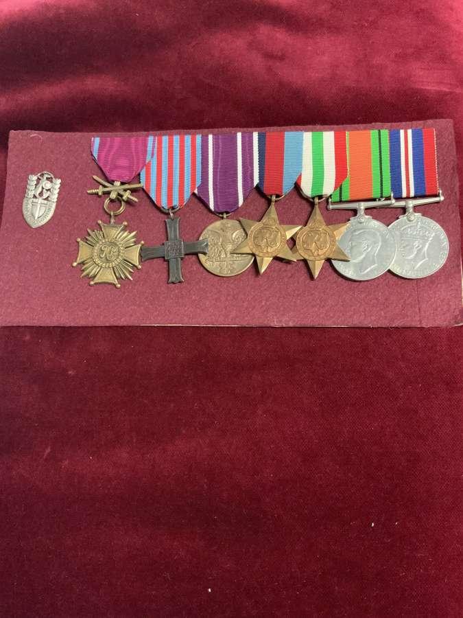 Cross of Merit & Monte Cassino Cross Medal & Badge Group