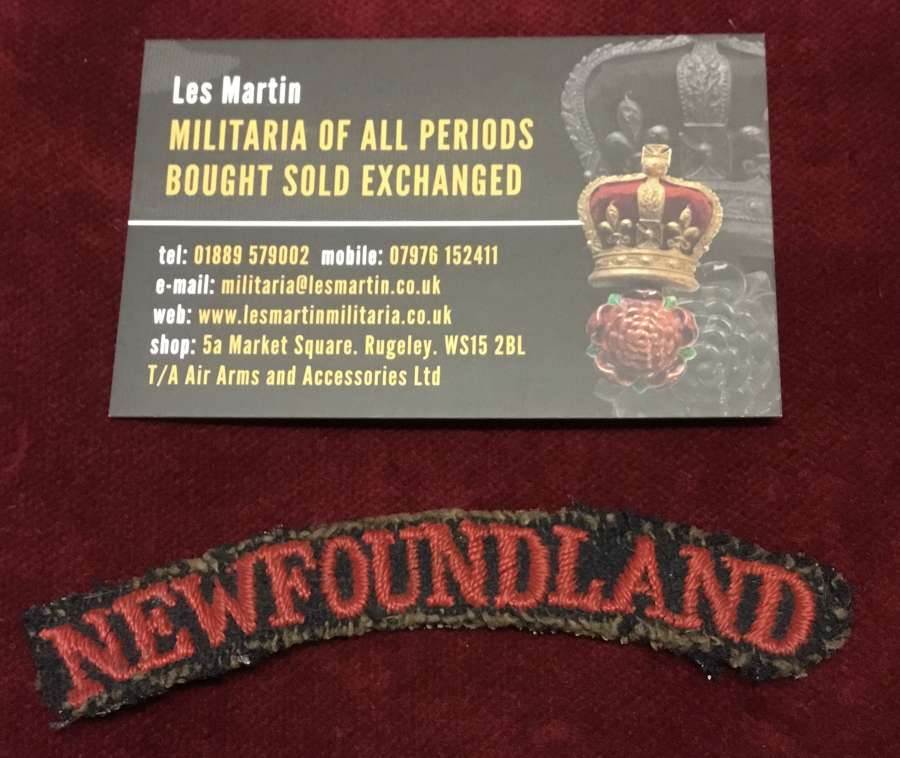 Interesting Newfoundland Embroidered Shoulder Title