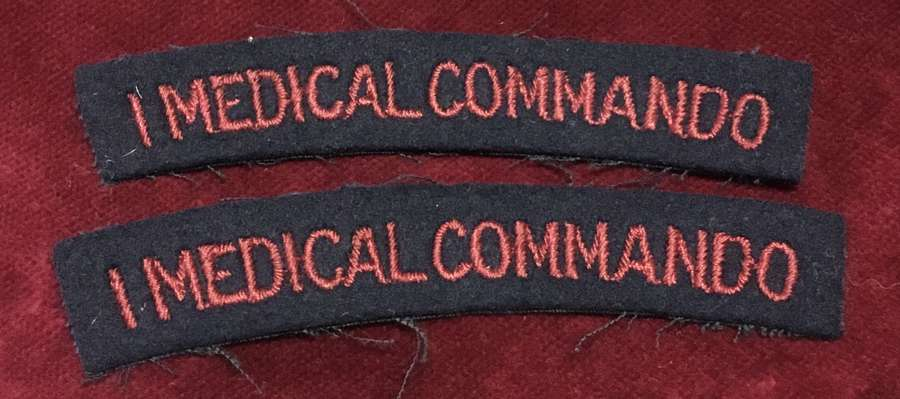 No. 1 Medical Commando embroidered Shoulder Title pair