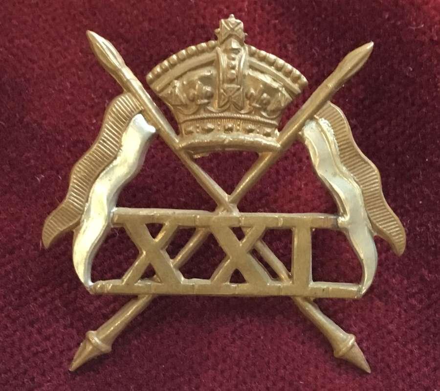21st Lancers Victorian Cap Badge