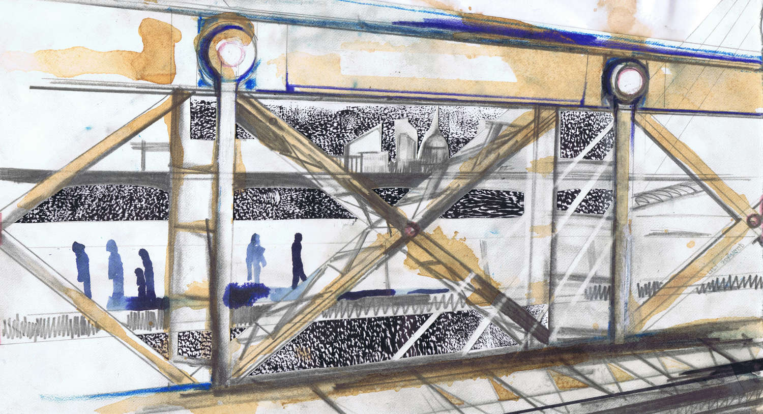 On the Hungerford Bridge to Charing Cross, Sketch