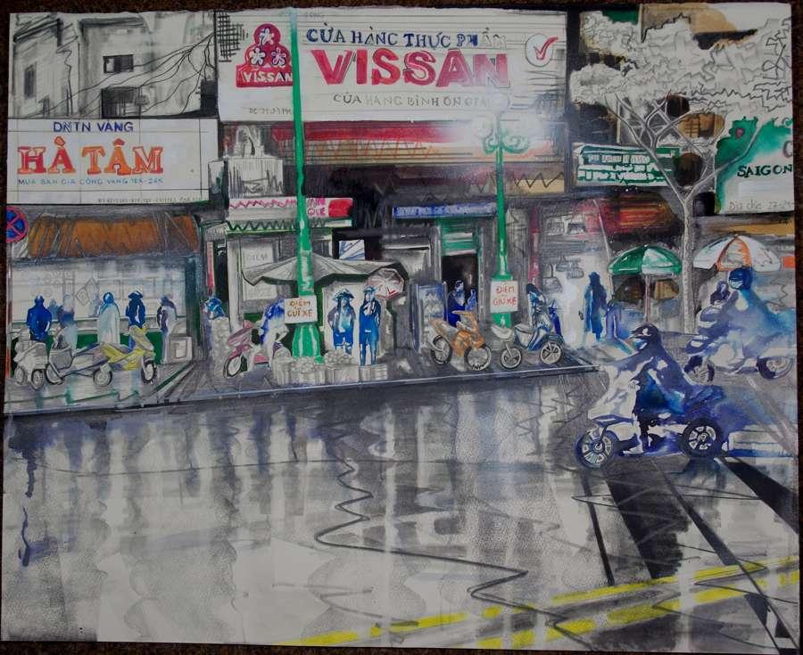 Rainy Saigon Street