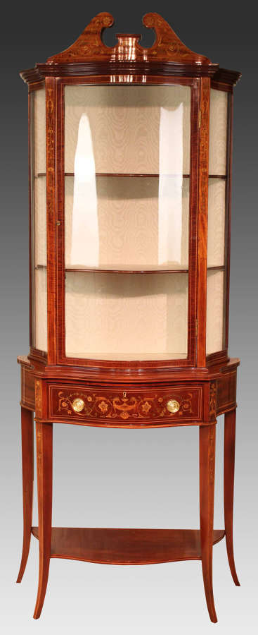 A Quality Late 19th Century Serpentine Display Cabinet