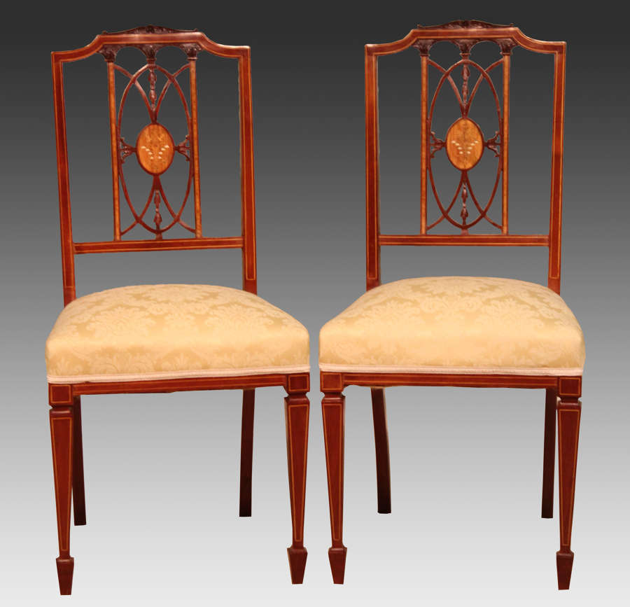 The Quality Late Victorian Mahogany Inlaid Pair of Chairs
