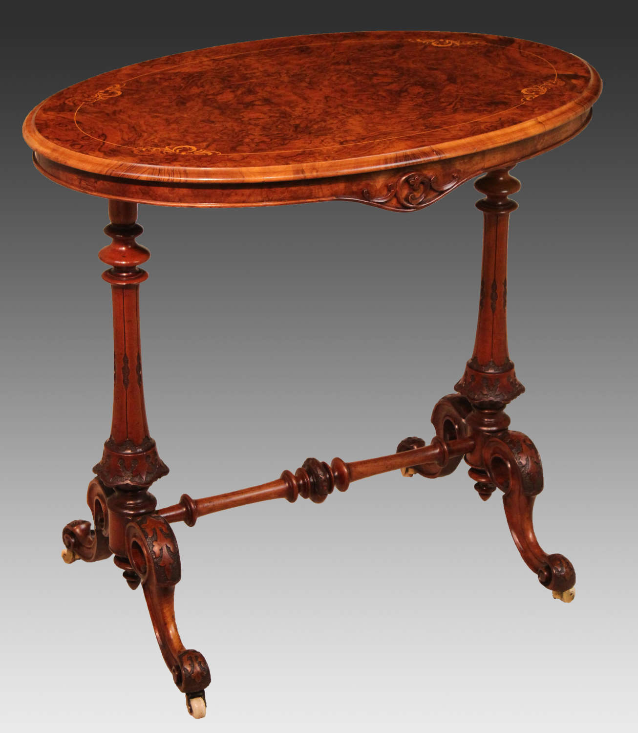 The Quality Victorian Burr-walnut Inlaid Baby Stretcher Table