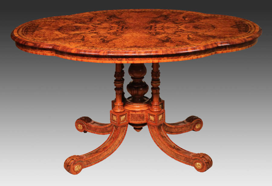The Gillows Victorian Burr-walnut, Kingwood, Mounted Centre Table
