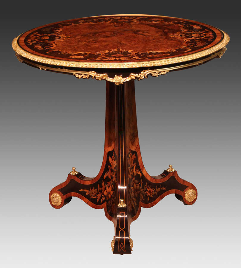 An Exceptional Inlaid Walnut and Kingwood Marquetry Centre Table
