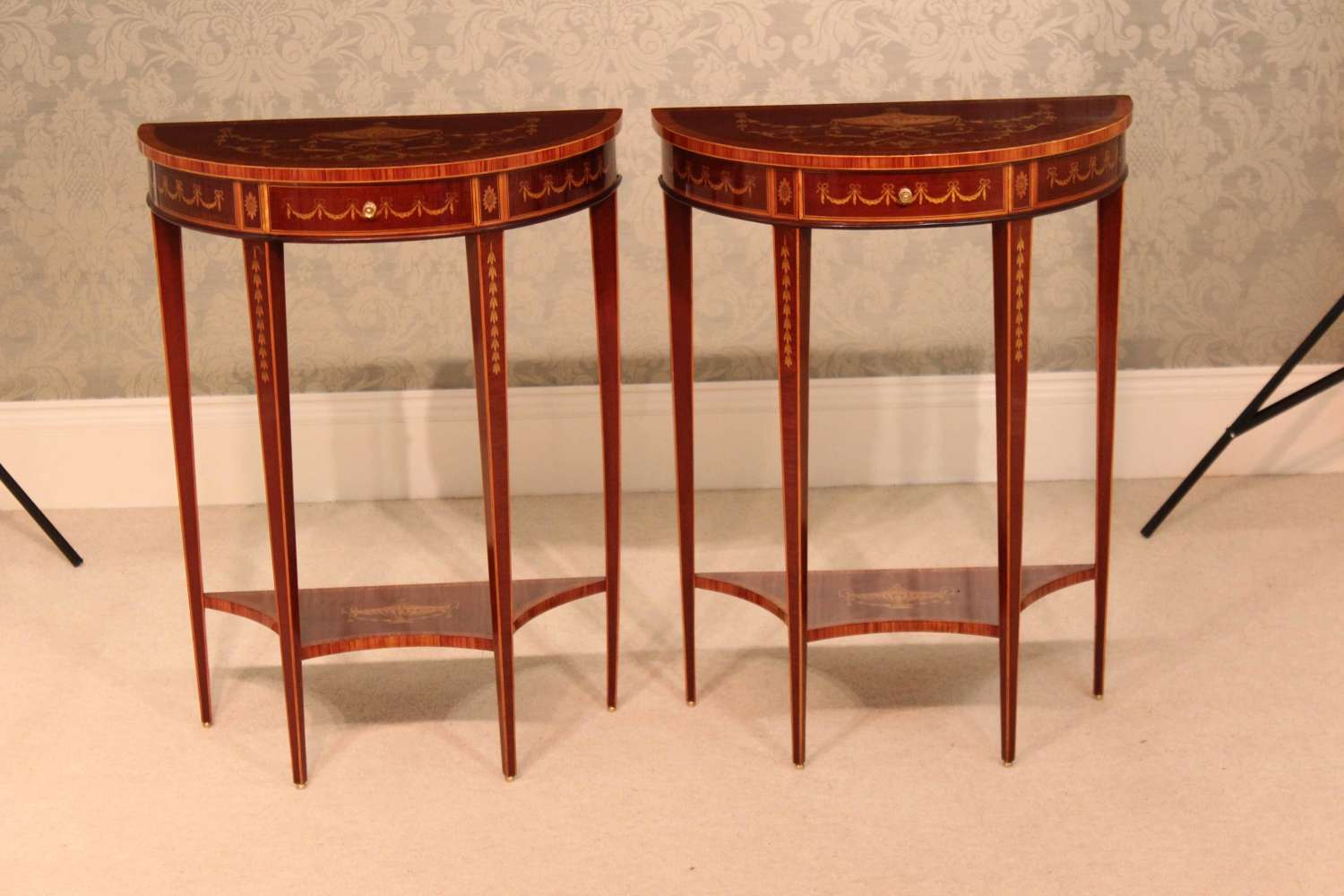 A Pair of Late Victorian Mahogany Inlaid Demi Lune Side Tables