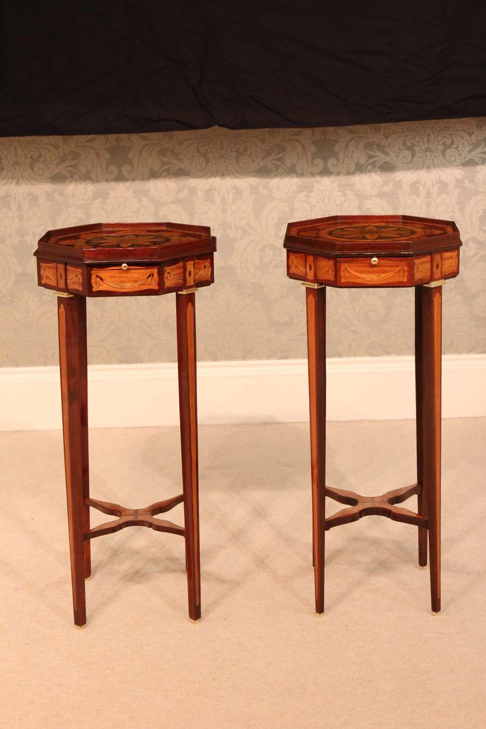 A Fine pair of inlaid Mahogany Victorian Kettle stands