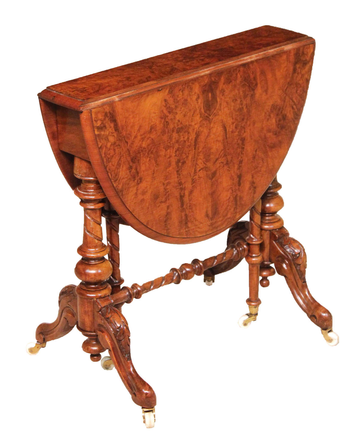 An Exquisite Victorian Burr Walnut Cabriole Leg Baby Sutherland Table
