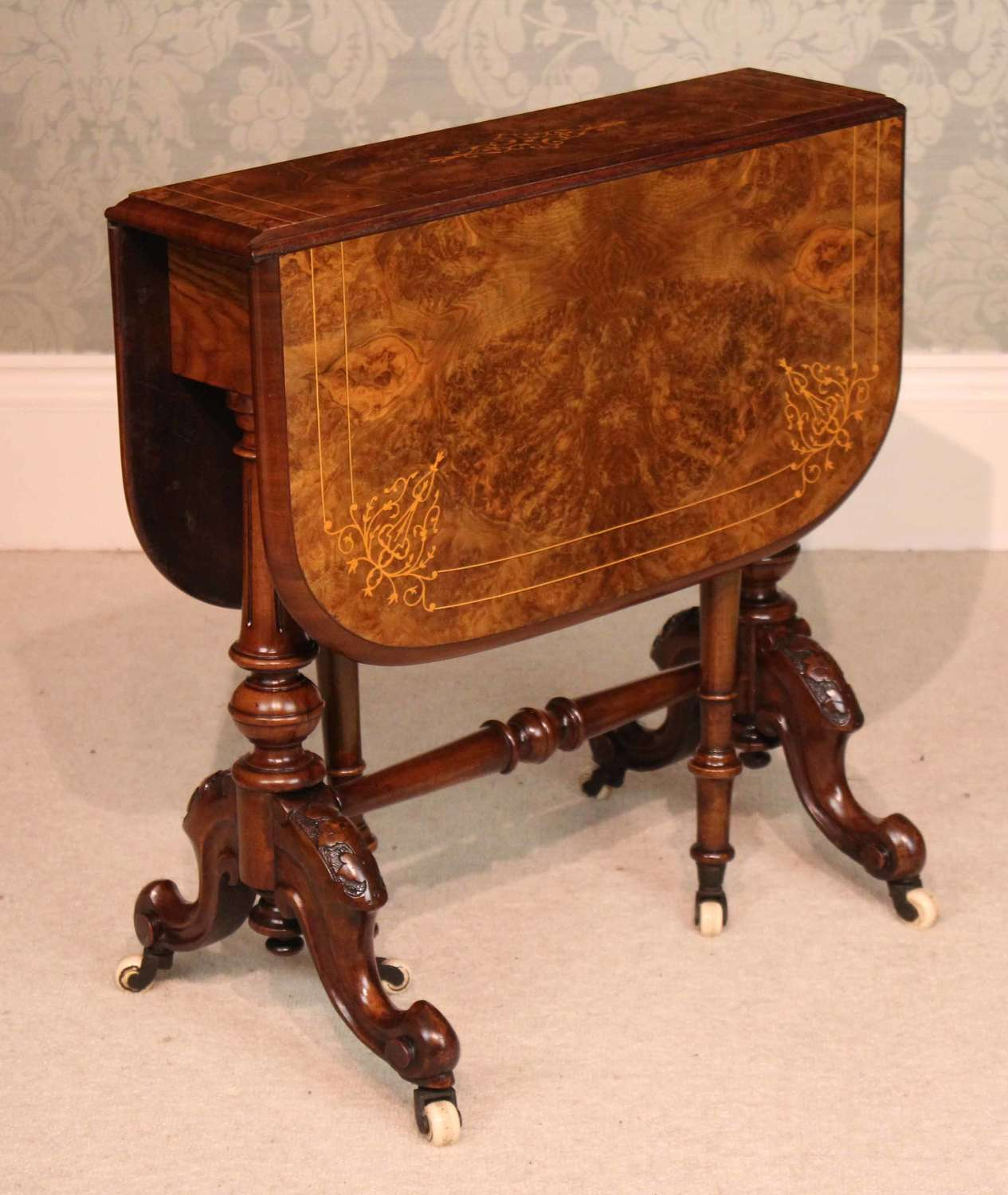 A Fine Quality Burr Walnut Inlaid Baby Sutherland Table.
