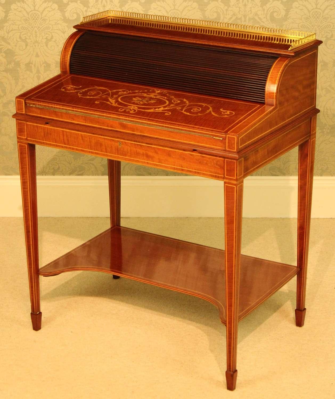 A Quality Late Victorian Mahogany Inlaid Cylinder Desk Circa 1890