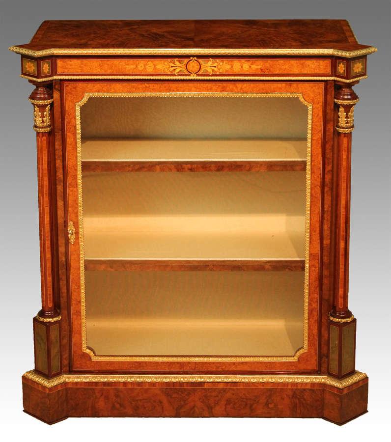 A Victorian Inlaid Burr-Walnut and Ormolu Mounted Pier Cabinet