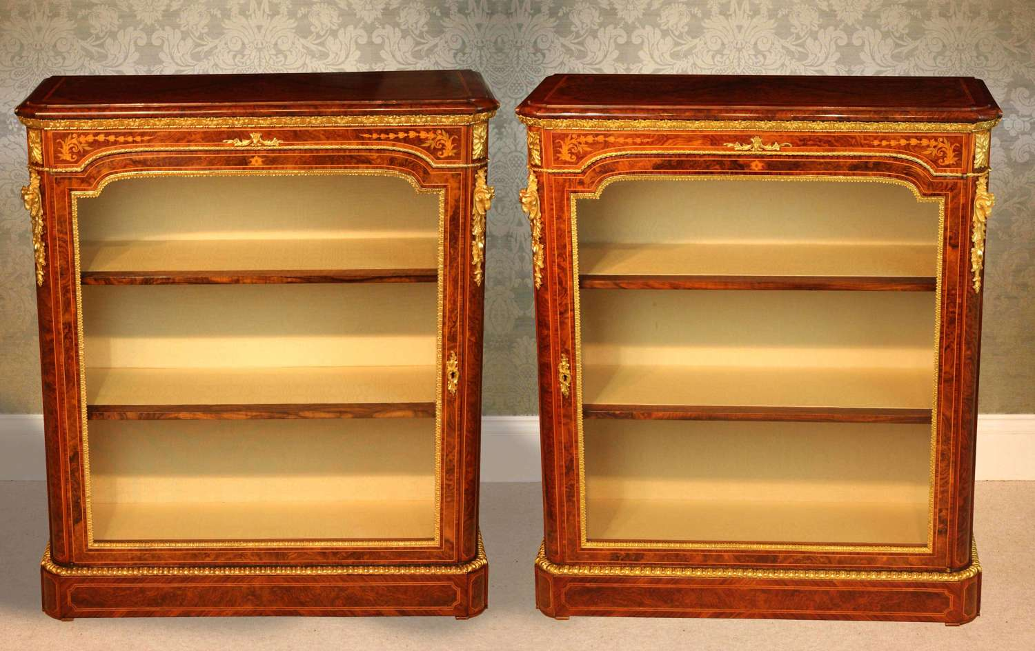 A Pair Victorian Burr Walnut inlaid Pier Cabinets by Wilkinson & Sons.