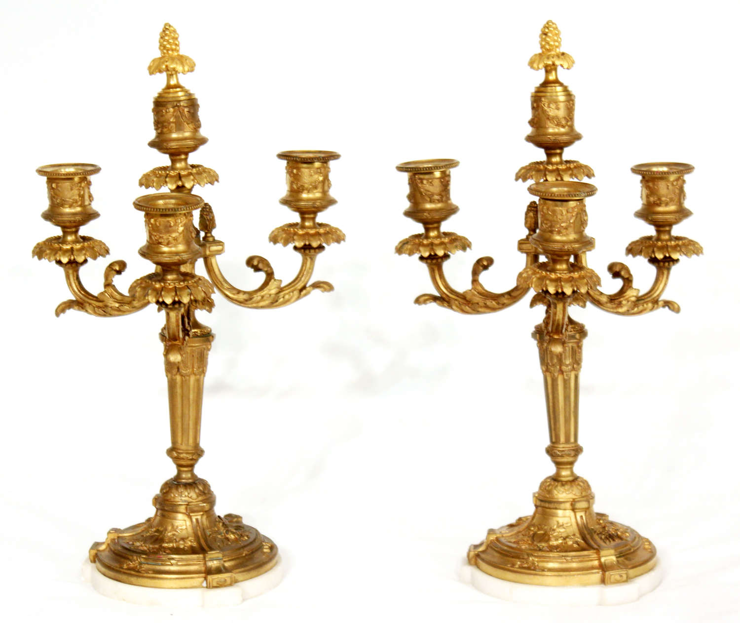 A Pair Of Late 19th Century Gilt Ormolu Three Branched Candelabra.