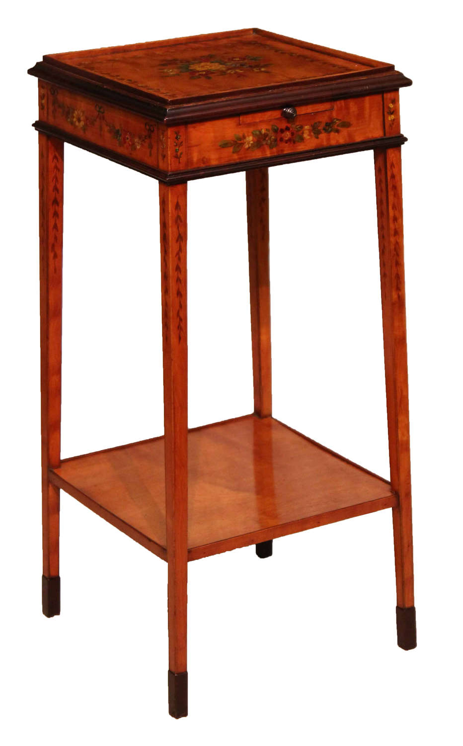 An Exhibition Quality Edwardian Mahogany Inlaid Kettle Stand