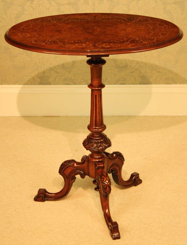 A Fine Quality Victorian Burr-Walnut Inlaid Oval Tripod Table